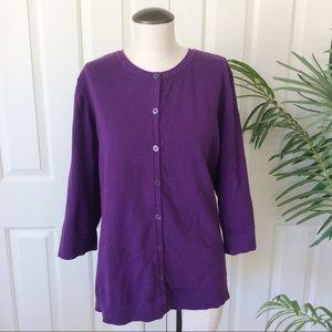 CJ Banks 2X Purple 3/4 Sleeve Button Down Cardigan